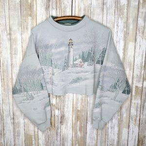 VTG Winter Christmas Cropped Double Sided Crew